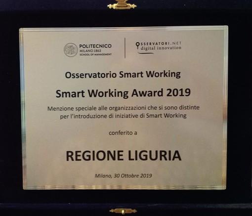 Smart Working: Regione Liguria premiata con targa e menzione speciale dall'osservatorio del Politecnico di Milano