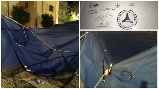 Finale, vandalizzata la tenda della Protezione Civile: a salvarla il sistema di sicurezza