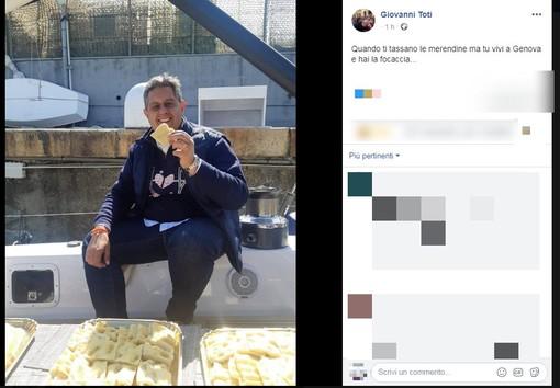 """La """"frecciata"""" di Toti al Conte-bis: """"Che tassino le merendine, noi liguri abbiamo la focaccia"""""""