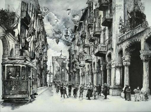 Immagine: Stefania Salvadori, Via Paleocapa, inchiostro su carta tinta, cm. 30 x 30